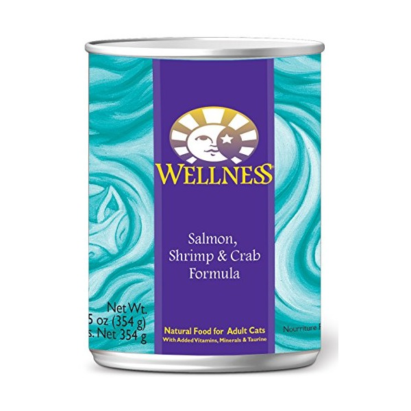 Wellness Complete Health Natural Wet Canned Cat Food, Salmon, Shrimp & Crab Recipe, 12.5-Ounce Can (Value Pack of 12)