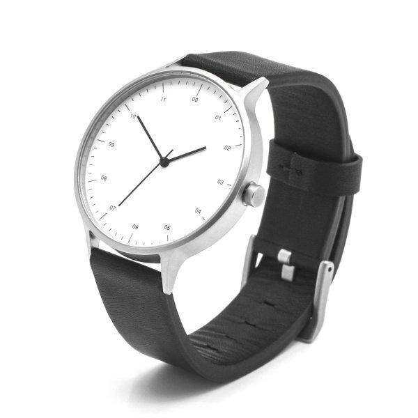Unique Minimalist White Dial Stainless Steel Swiss Quartz Analog Black Leather Watch