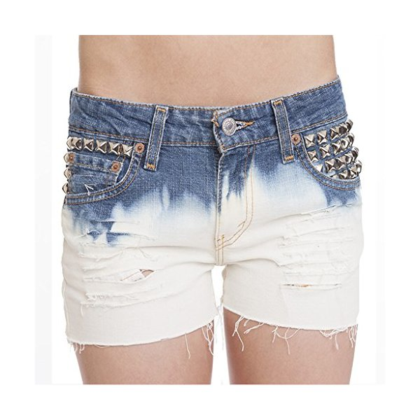 Women's Lucy Short Vintage Levi Ombre Bleach Studded Cut Off Ripped Shorts-L