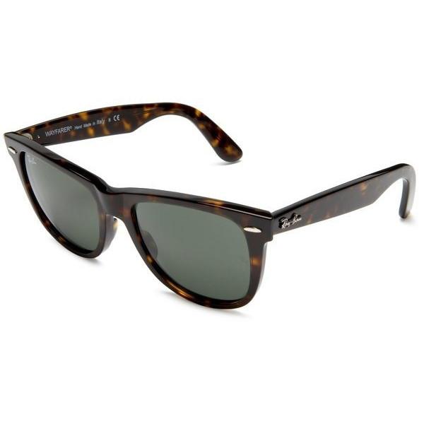 Ray-Ban Original Wayfarer Sunglasses, Tortoise Frame / Crystal Green Lens