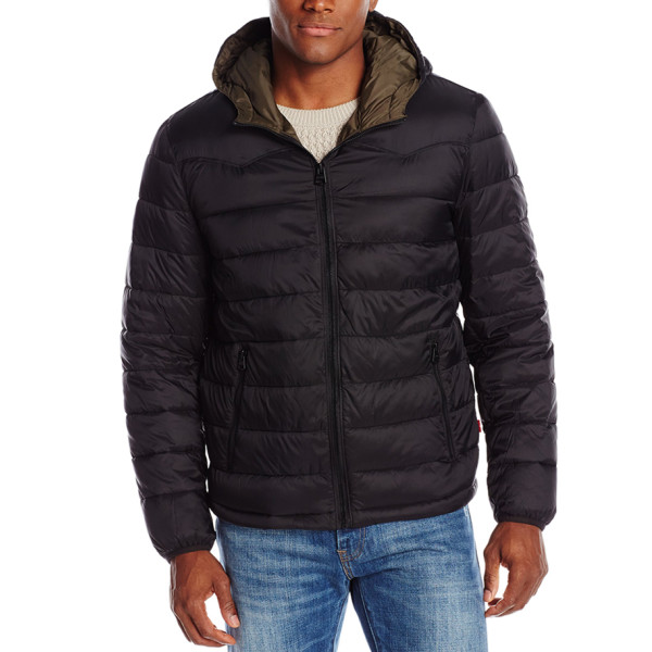 Levi's Men's Nylon Lightweight Puffer Hoodie Jacket