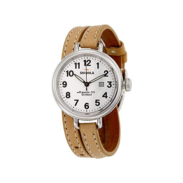Shinola White Dial Brown Leather Mens Watch 11000234