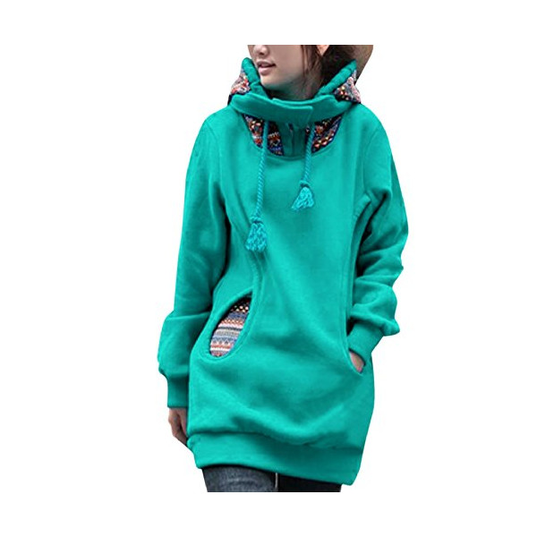 Allegra K Fashion Drawstring Novelty Prints Pockets Front Lined Hoodie for Women