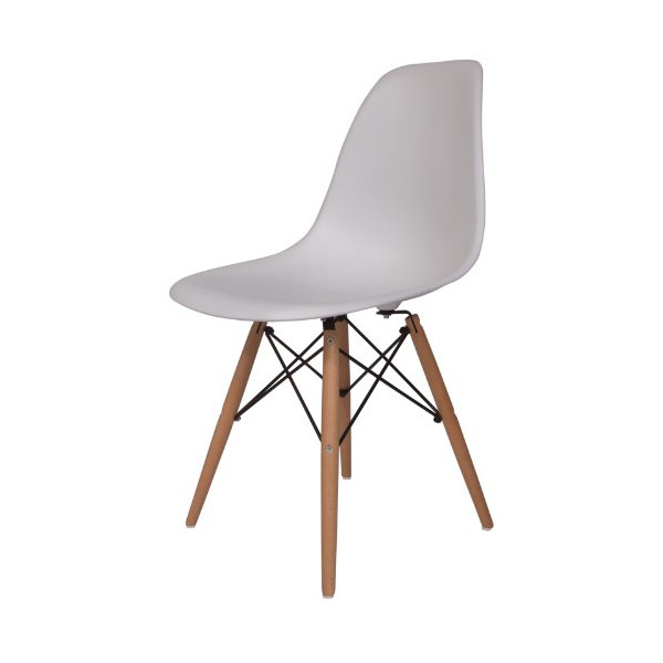 Hard Durable Plastic Molded Side Chair with Wood Dowel Legs - In White - New Unique Classic Style Chair