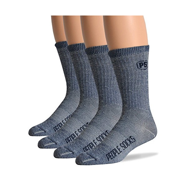 4pairs Heather Navy Blue Mens Merino Wool Acrylic Blend Boot Socks