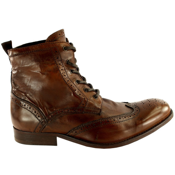 Angus Brogue Leather Lace Up Smart Ankle Boots
