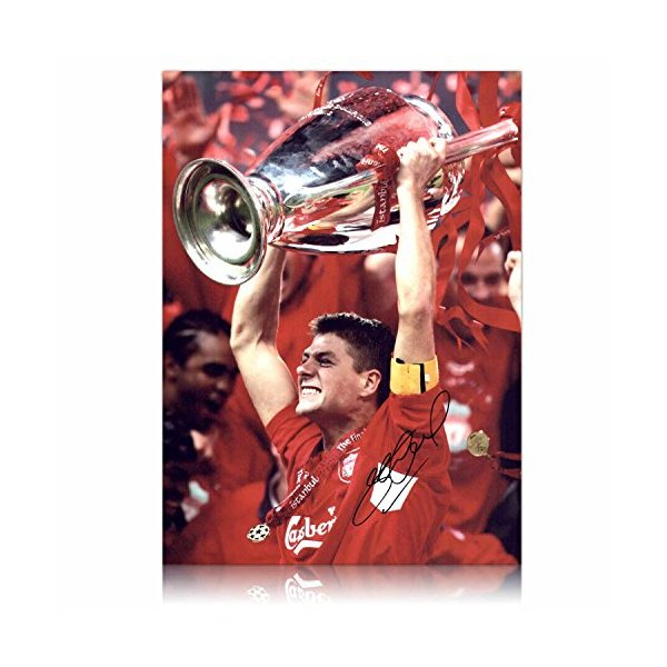 Steven Gerrard Signed Liverpool Champions League Photo: We've Won It Five Times
