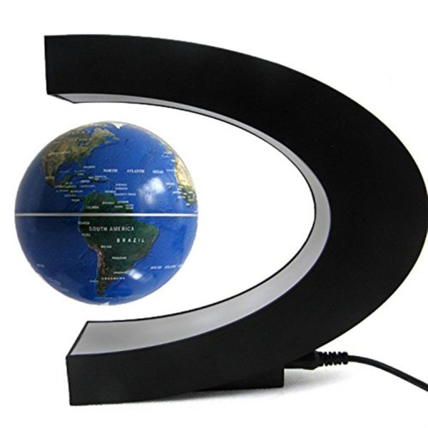 Senders Floating Globe with LED Lights C Shape Magnetic Levitation Floating Globe World Map for Desk Decoration (Dark Blue)