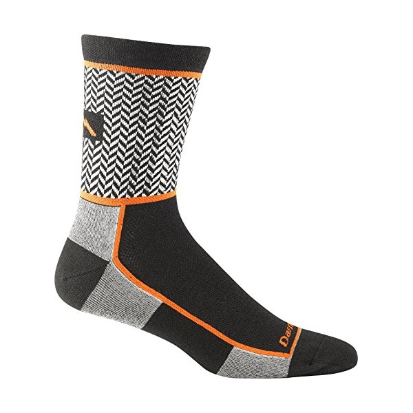 Darn Tough Vermont Men's Herringbone Micro Crew Ultra-Light Athletic Socks, Black, Medium