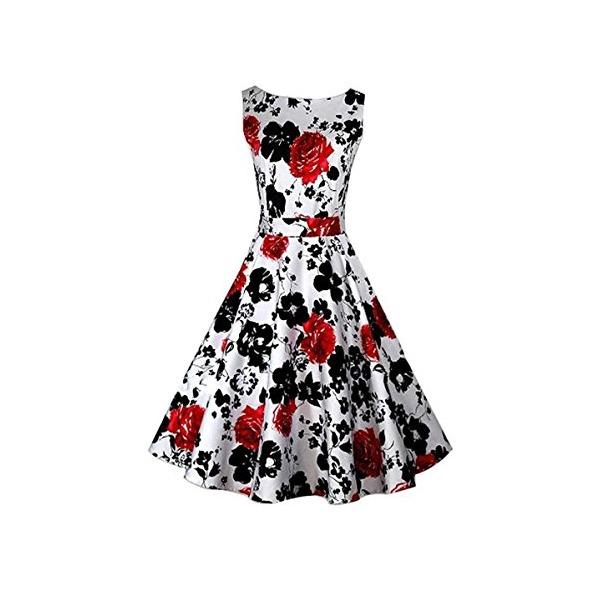 ACEVOG Classy Vintage Hepburn Style 1950's Rockabilly Swing Evening Floral Dress