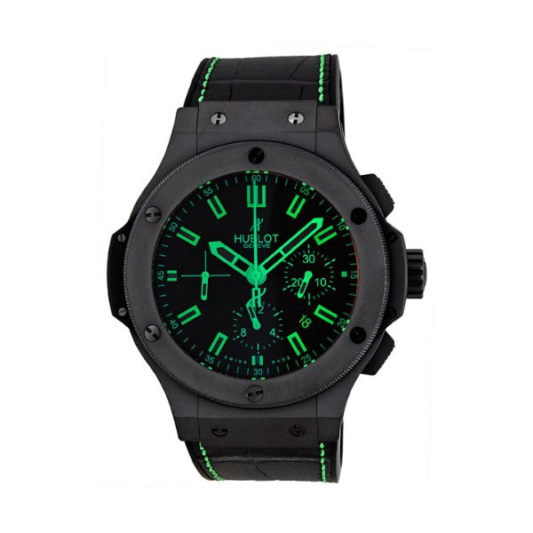 Hublot All Black and Green Carat Mens Watch