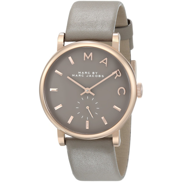 Marc by Marc Jacobs Women's Leather Baker Watch, Brown/Rose Gold