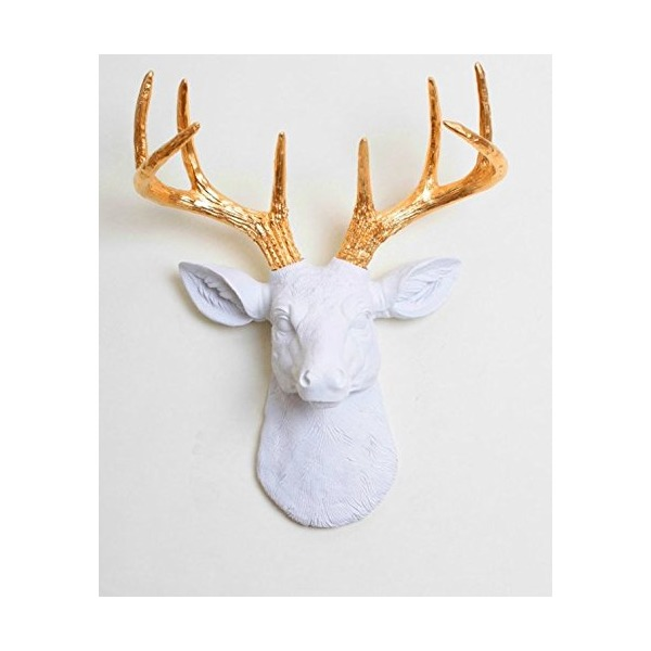 "White Faux Taxidermy The Mini Alfred Resin Faux Deer Head with Antlers Animal Head Wall Hanging Sculpture, 14.75 by 11 by 4.75"", White/Gold"
