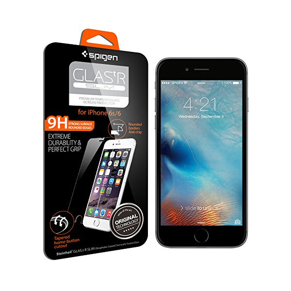 iPhone 6s Screen Protector, Spigen® iPhone 6 6s Glass Screen Protector [3D Touch Compatible- Tempered Glass] Most Durable [Easy-Install Wings] Rounded Edge [Life Warranty] - Glas.tR SLIM (SGP11588)