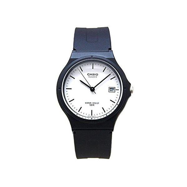 Casio Unisex MW59-7EV Black Resin Quartz Watch with White Dial