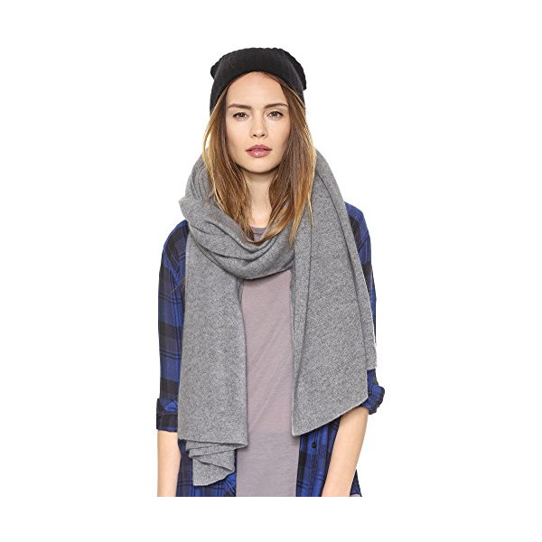 White + Warren Women's Cashmere Travel Wrap Scarf, Nickel Heather, One Size