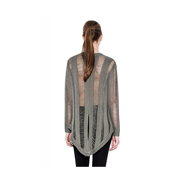 Skylar Ripped Back Detail Hi Lo Long Sleeve Knit Top One Grey Day Sweater-L