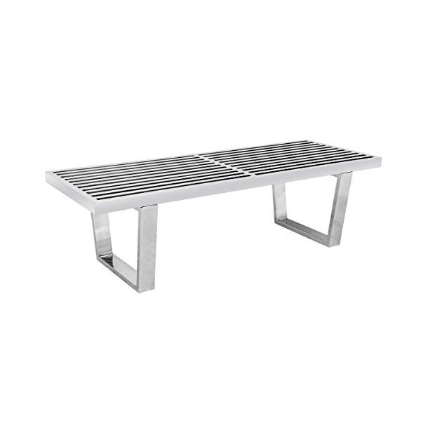 LeisureMod Mid-Century Modern Inwood Platform Stainless Steel Bench, 4', Silver
