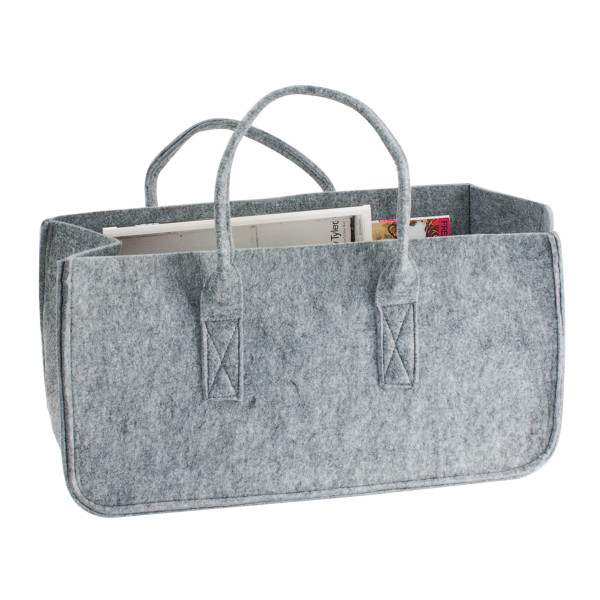 Present Time Mellow Felted Magazine Holder, Grey