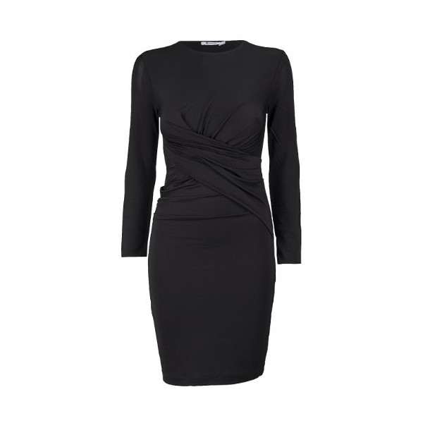 T Alexander Wang Women's Long Sleeve Twist Dress S Black