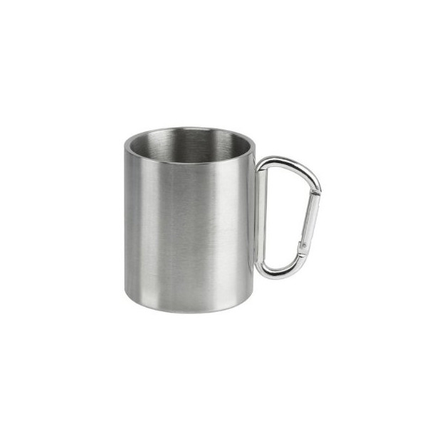 9 oz Stainless Steel Camping Double-Wall Insulated Coffee Mug - Carabiner Handle