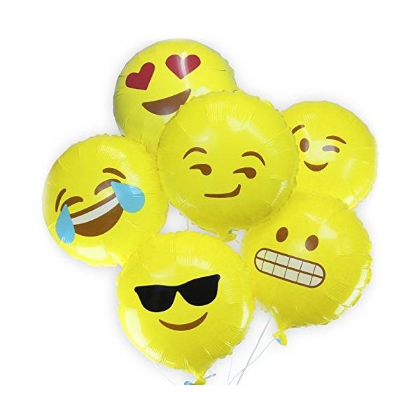 Emoji Balloons - Variety 6 Pack Helium Mylar Emoji Ballons