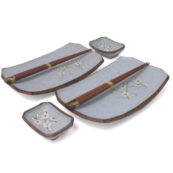 Cherry Blossom Six Piece Sushi Plate Set