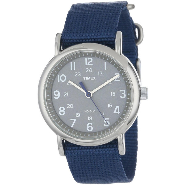 Timex Men's Central Park T2N891 Blue Nylon Quartz Watch with Grey Dial