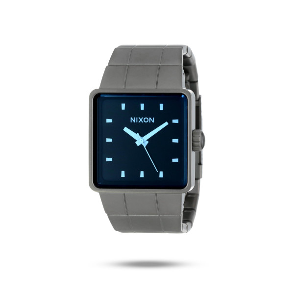 Nixon Quatro Gunmetal/Blue Crystal Dial Men's Watch