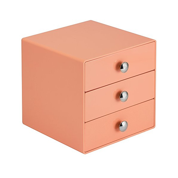 InterDesign 3-Drawer Multipurpose Storage Container with Knobs, Coral