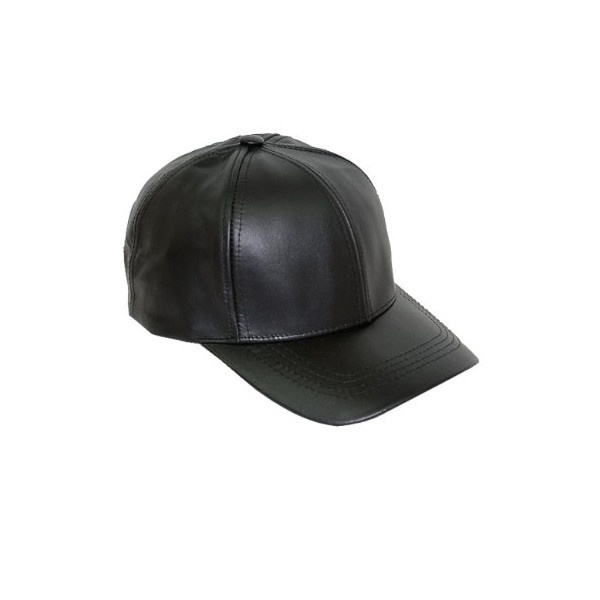 Black Leather Adjustable Baseball Hat