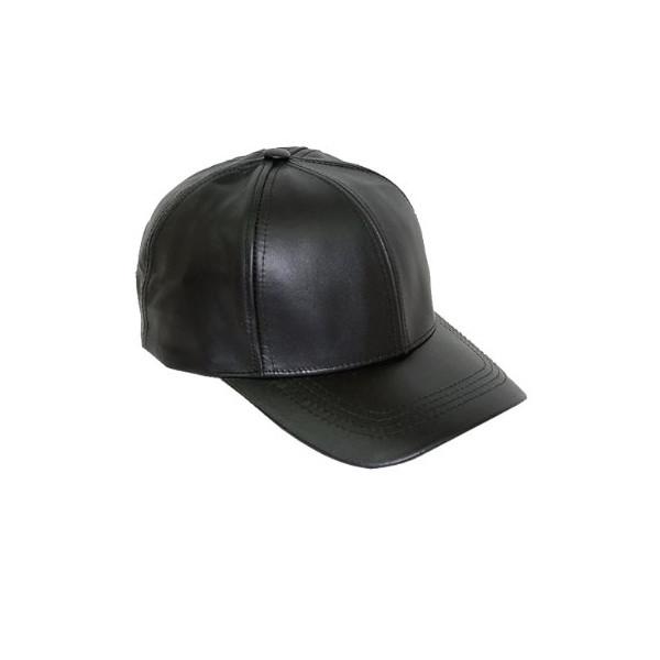 Black Leather Adjustable Baseball Hat