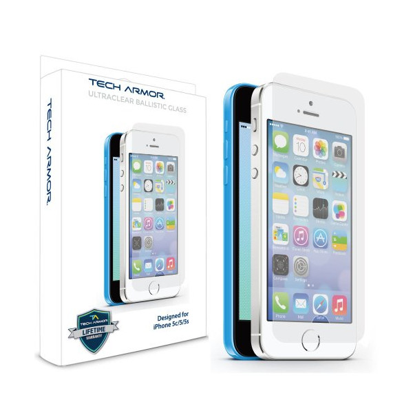 Tech Armor Apple iPhone 5/5c/5s Premium Ballistic Glass Screen Protector - Protect Your Screen from Scratches and Drops - Maximize Your Resale Value - 99.99% Clarity and Touchscreen Accuracy