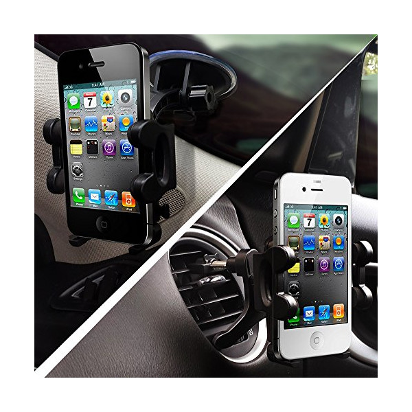 2-in-1 Mobile Phone Car Mount, Holder, Cradle - Universal Fit - Secure Cell Phone/GPS to Windshield or Air Vent in Vehicle - Installs in Seconds - Padded, Adjustable Grips for Safety and Security - Hands Down the Best Mount You'll Own! - Fits Iphone 6, 6+