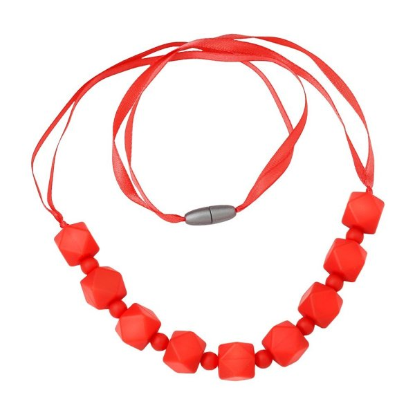 ComfyBaby Beads 'Chunky Monkey' Silicone Teething Necklace BPA Free - Chunky Coral