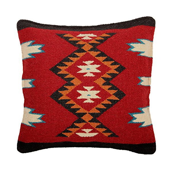 Throw Pillow Covers 18 X 18, Hand Woven Wool in Southwest, Mexican, and Native American Styles. High Quality Hand Crafted. (Yiska 11)