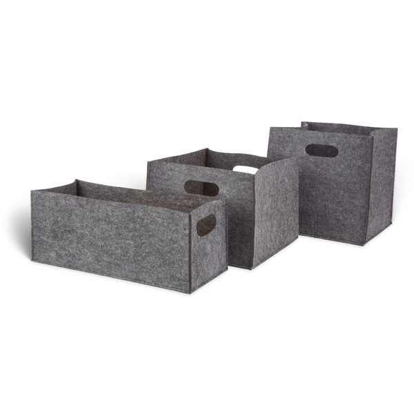 Felt Storage Bins, Dark Grey, Set of 3