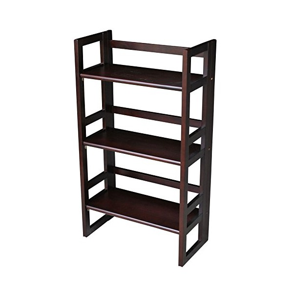 Casual Home 3-Tier Folding Student Bookcase, 20.75-Inch Wide, Espresso