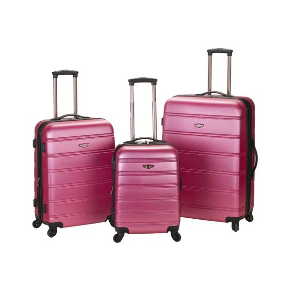 "Melbourne Three Piece ABS Luggage Set (Pink) (17""H x 12""W x 28""D)"
