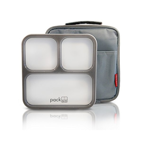 PackTOGO Leakproof Bento Lunch Box Container Set w/ Insulated Lunch Bag for Adults (Gray)
