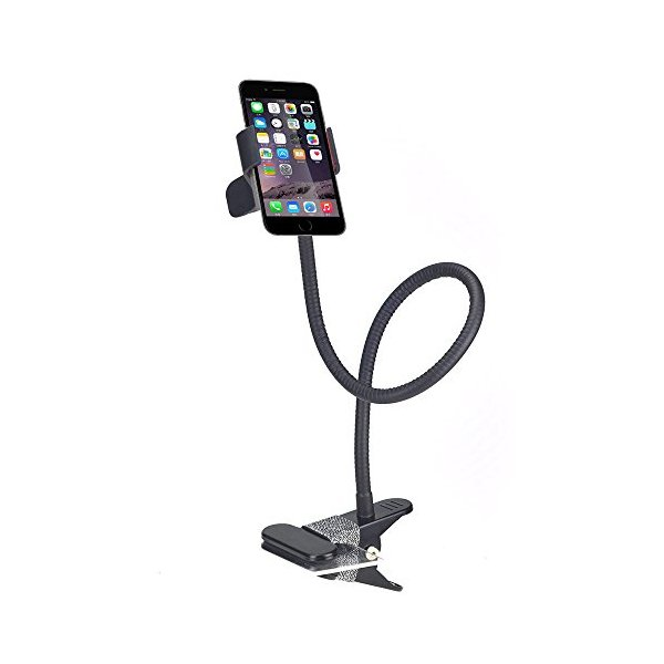 BESTEK cell phone clip holder stand gooseneck clip clamp mount on car,desk,table for iPhone 6 plus/6/5s/5,Samsung Galaxy, HTC, Nokia, LG GPS Devices with Fully Function(Black)
