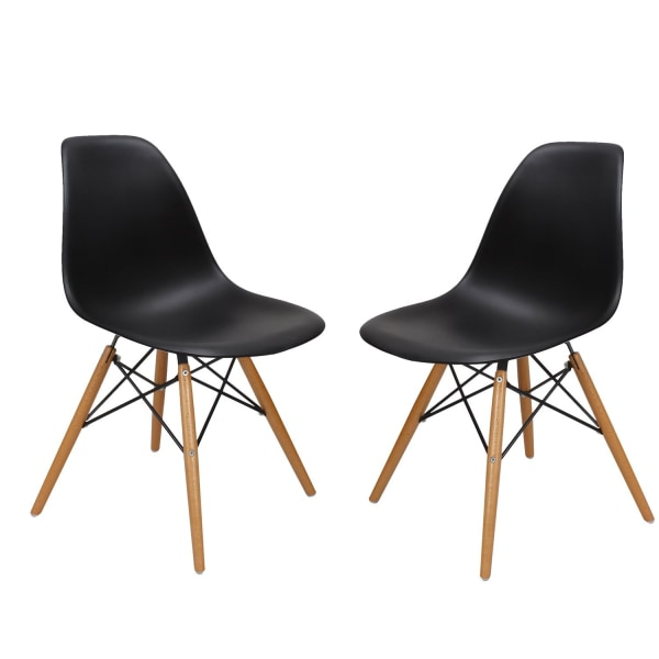 Adeco Charles & Ray Eames Modern Side Chair with Wooden Legs, Reception Seat (Set of Two)