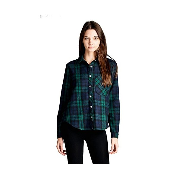 Women's Roll-Up Sleeve Plaid Flannel Shirts (Large, Green)