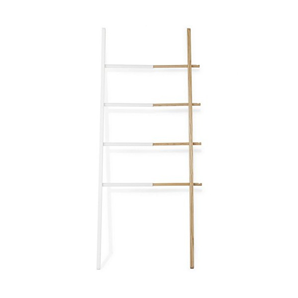 Hub Ladder, Natural Wood / White Rubber Steel