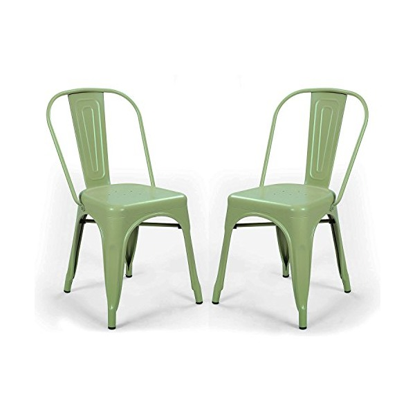 2015 NEW ARRIVAL! Adeco Green Metal Stackable Tolix Style Industrial Chic Dining Bistro Chair, Outdoor and Indoor Set of Two