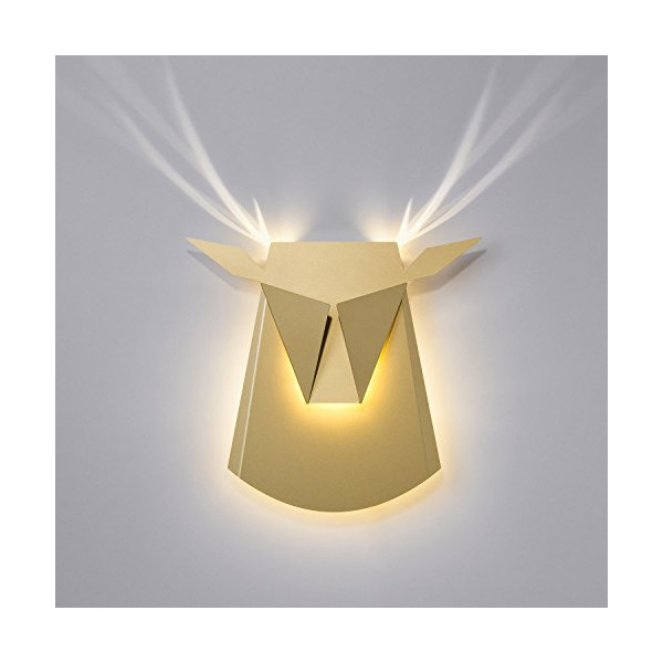 Elegant Aluminium Wall LED Light Deer Head Fixture Gold