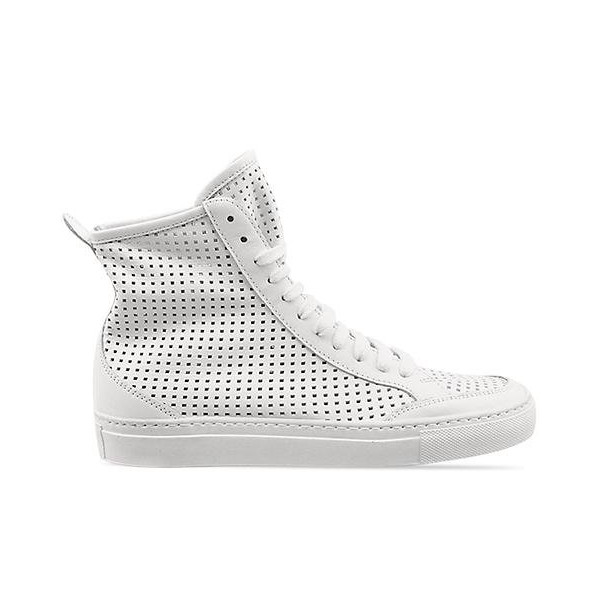 MM6 Maison Martin Margiela Perforated High Top Sneaker White Leather