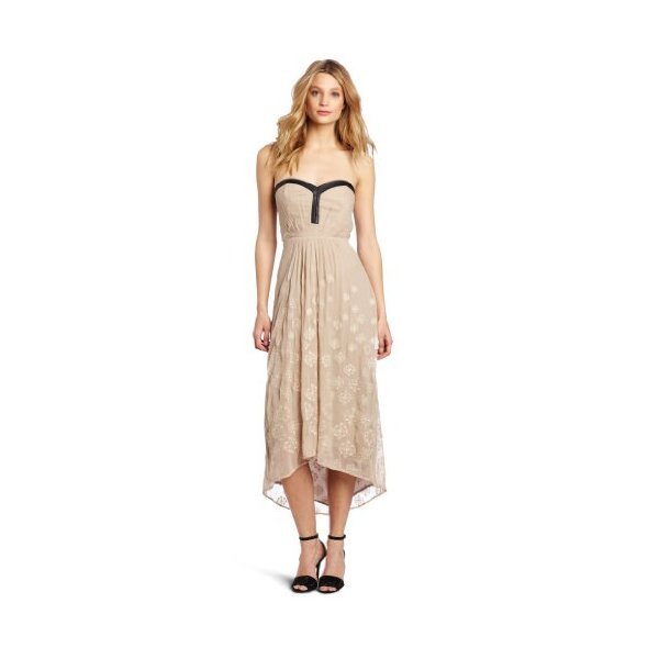 Twelfth Street by Cynthia Vincent Women's Leather Trim Maxi Dress, Taupe, Small