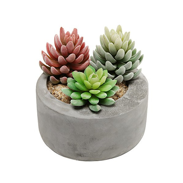 "7"" Gray Cement Modern Circular Succulent Pot Planter, Candleholder, Storage Bowl for Keys & Coins"