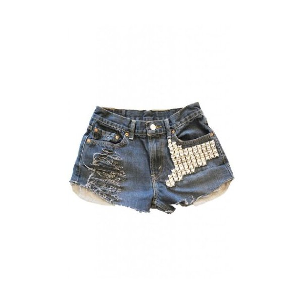 Denim Boson Silver Studs Shredded Cutoff Ripped Vintage Shorts Hem Levi's-XL